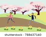 a couple marathoning. cherry... | Shutterstock .eps vector #788637160