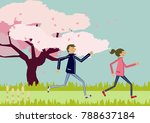 marathon.cherry blossom. image ... | Shutterstock .eps vector #788637184