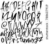 handdrawn dry brush font.... | Shutterstock .eps vector #788637919