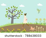 dog walking. a woman and a dog. ...   Shutterstock .eps vector #788638033