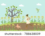 dog walking. a woman and a dog. ...   Shutterstock .eps vector #788638039