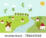 scenery of windmill and spring... | Shutterstock .eps vector #788643568