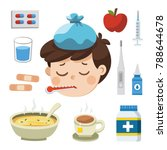 sick boy with thermometer in... | Shutterstock .eps vector #788644678