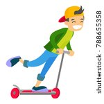 young caucasian white cheerful... | Shutterstock .eps vector #788655358