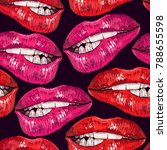 embroidery lips. cosmetics and... | Shutterstock .eps vector #788655598