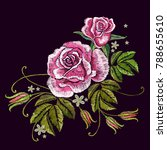 embroidery spring roses | Shutterstock .eps vector #788655610