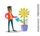 young african investor watering ... | Shutterstock .eps vector #788656018