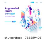 Virtual augmented reality glasses concept with people learning and entertaining. Landing page template. 3d vector isometric illustration. | Shutterstock vector #788659408