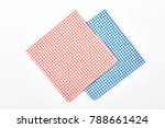red and blue checkered napkins. ... | Shutterstock . vector #788661424