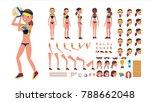 volleyball player vector. beach ... | Shutterstock .eps vector #788662048