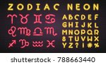 zodiac icon set. neon light... | Shutterstock .eps vector #788663440