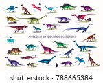 set of silhouettes  dino...   Shutterstock .eps vector #788665384