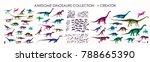 set of silhouettes  dino...   Shutterstock .eps vector #788665390