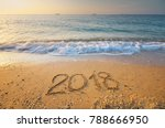 2018 year on the sea shore.... | Shutterstock . vector #788666950