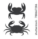 Crab Silhouette. Isolated Crab...