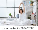 asian women she is in bed and... | Shutterstock . vector #788667388