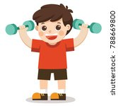 a cute boy exercising with... | Shutterstock .eps vector #788669800