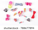 cute kids hair claws on white... | Shutterstock . vector #788677894
