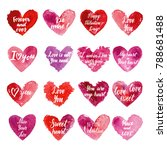 grungy red watercolor hearts...   Shutterstock .eps vector #788681488