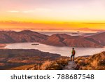 hiking wanderlust adventure man ... | Shutterstock . vector #788687548