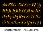 golden ribbon alphabet on black ... | Shutterstock .eps vector #788688196