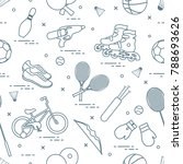 pattern with bicycle  rollers ... | Shutterstock .eps vector #788693626