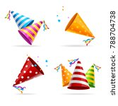 party hat color set tradition... | Shutterstock . vector #788704738