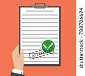 approved paper document  green... | Shutterstock .eps vector #788706694