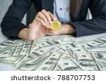 rich men carry bitcoins new... | Shutterstock . vector #788707753