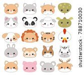 Stock vector set of cartoon cute animal faces on white background 788710030