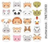 set of cartoon cute animal... | Shutterstock .eps vector #788710030