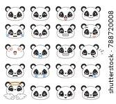 set of cute panda emoticons.... | Shutterstock .eps vector #788720008