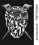 rock music design with skull...   Shutterstock .eps vector #788720464