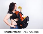 obese fat young woman with a... | Shutterstock . vector #788728408
