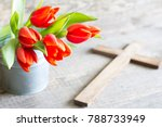 easter spring red tulips and... | Shutterstock . vector #788733949