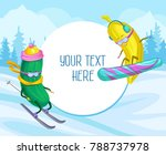 funny cucumber and banana... | Shutterstock .eps vector #788737978