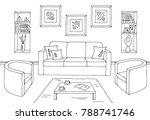 living room graphic black white ... | Shutterstock .eps vector #788741746