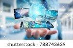 businessman connecting tech... | Shutterstock . vector #788743639