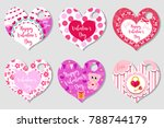 happy valentine's day tags set... | Shutterstock .eps vector #788744179