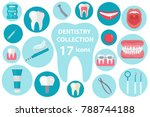 dental icon set  flat style.... | Shutterstock .eps vector #788744188
