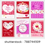 happy valentine's day set... | Shutterstock .eps vector #788744509