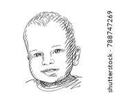 sketch of cute baby head...   Shutterstock .eps vector #788747269
