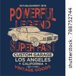 vintage effected tee print... | Shutterstock .eps vector #788752744