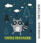 cute raccoon illustration as... | Shutterstock .eps vector #788752858