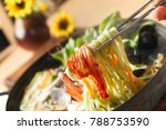 kalguksu is korean handmade... | Shutterstock . vector #788753590