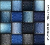 jeans patchwork background.... | Shutterstock .eps vector #788764129