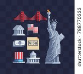 american icons. usa theme.... | Shutterstock .eps vector #788770333
