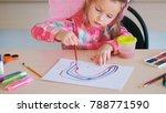 child girl drawing school...   Shutterstock . vector #788771590