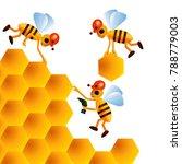 three cartoon bees build... | Shutterstock .eps vector #788779003