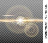 shining golden sun with glowing ... | Shutterstock .eps vector #788781436